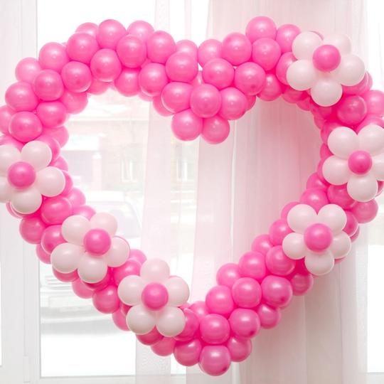 """12 Pcs - 12"""" Hot Pink / Fuchsia Birthday Wedding Party Decor Latex Balloons Ceremony Table Top Ceiling Arch Decoration"""