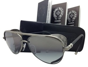 Chrome Hearts New CHROME HEARTS Sunglasses PROBASSHOLE AS-BKL-WSS Silver & Leather w/Grey Gradient