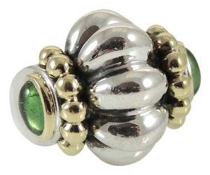 Lagos Lagos Sterling Silver 18K Yellow Gold Medium Caviar Classic Fluted Ring with Green Tourmaline Cabochons - Retail $650
