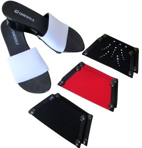One-Sole Interchangeable Wedge Four Different Looks Black, White, Red Sandals