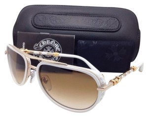 Chrome Hearts New CHROME HEARTS Sunglasses JACKWACKER I MWT-GP White & Gold Plated Aviator w/ Brown Lenses