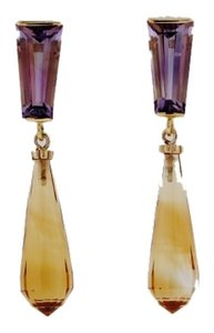 MUST SEE - 14K Yellow gold 5.90 cts Rose de France amethyst & 17.15 cts Citrine cocktail earrings
