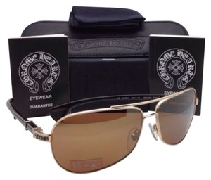 Chrome Hearts CHROME HEARTS Sunglasses GRAND BEAST GP-EBPV Gold & Ebony wood w/ Brown Lenses