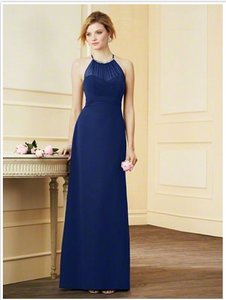 Alfred Angelo Navy Blue High Halter Neckline Chiffon Bridesmaid Dress Style 7290l Dress
