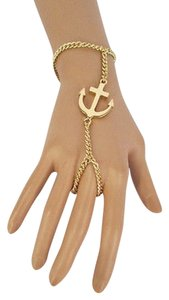 Other Women Gold Big Anchor Bracelet Hand Chain Fashion Jewelry Slave Ring Charm