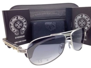 Chrome Hearts New CHROME HEARTS Sunglasses BABY BEAST SS-WTEB Silver-White Ebony Wood w/Grey Fade