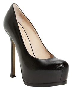 Saint Laurent Ysl Round Toe Platform Black Pumps