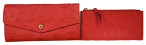 Louis Vuitton Curieuse Long Bifold Wallet Purse Monogram Empreinte Red Mens