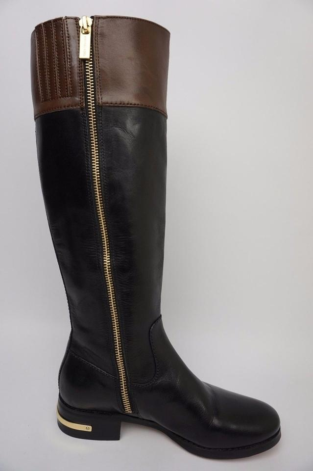 eaae55483d2e Michael Kors Black Hayley Leather Brown Two Tone Riding Boots Booties