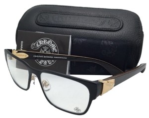 Chrome Hearts New CHROME HEARTS Eyeglasses GAG'N MBK/GP-WEWE-PV 54-16 Black & Gold w/ Piano Varnish
