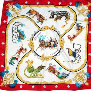 Hermès Authentic Vintage Hermes Silk Scarf Plumes Et Grelots Jacquard Red and White