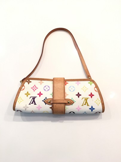 Louis Vuitton Shirley Murakami Evening Cute Gold Gold Hardware white/multicolor Clutch Image 1