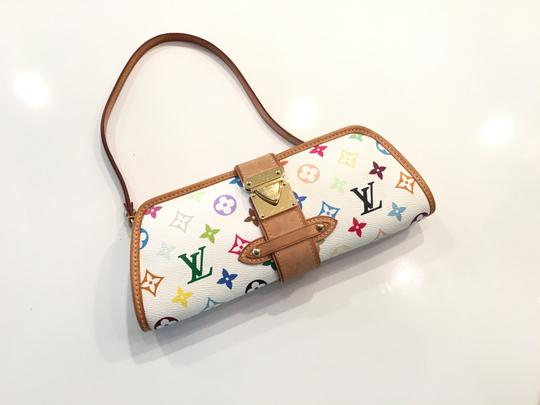 Louis Vuitton Shirley Murakami Evening Cute Gold Gold Hardware white/multicolor Clutch Image 10