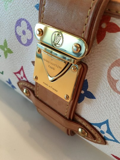 Louis Vuitton Shirley Murakami Evening Cute Gold Gold Hardware white/multicolor Clutch Image 4