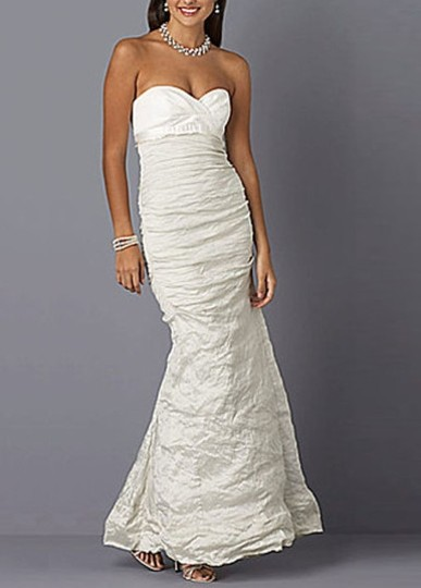 Nicole Miller Bridal Antique White Sweetheart Organza Techno Gown 14 Ea0040 Formal Wedding Dress Size 10 (M) Image 10