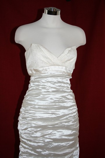 Nicole Miller Bridal Antique White Sweetheart Organza Techno Gown 14 Ea0040 Formal Wedding Dress Size 10 (M) Image 2