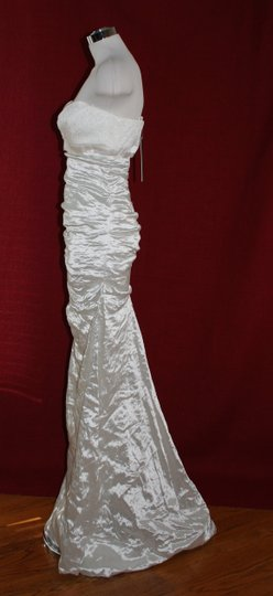 Nicole Miller Bridal Antique White Sweetheart Organza Techno Gown 14 Ea0040 Formal Wedding Dress Size 10 (M) Image 5