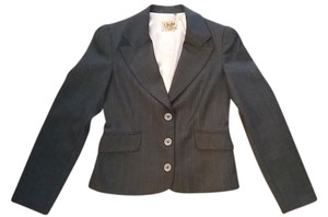 Juicy Couture Pinstri Pinstripe Fitted Black / Pink Blazer