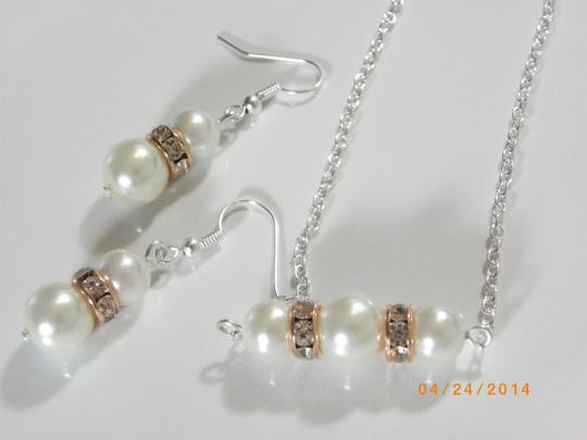 Cream White Sale Of 6 Bridesmaid Necklace and Earrings Of 6 Ivory Pearl Earrings Rhinestone Crystal Jewelry Set