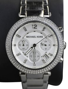 d88c9f47365 Michael Kors   Michael Kors Silver Dial Parker Stainless Chronograph Ladies  Watch