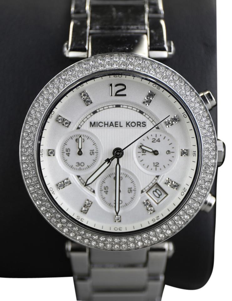 9677cd9d352f Michael Kors   Michael Kors Silver Dial Parker Stainless Chronograph Ladies  Watch Image 0 ...