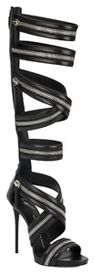 Giuseppe Zanotti Knee-high Zipper Gladiator Brandnew Black Sandals