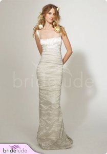 Nicole Miller Bridal Silk Ruched Mermaid Trumpet Bridal Wedding Dress 2 Ea0034 $880 Wedding Dress