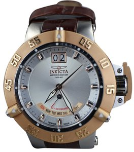 Invicta Invicta Men's 1576 Subaqua Noma III Silver Dial Brown Leather Watch