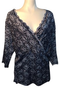 Venezia by Lane Bryant Plus Size Top BLACK SILVER LACE