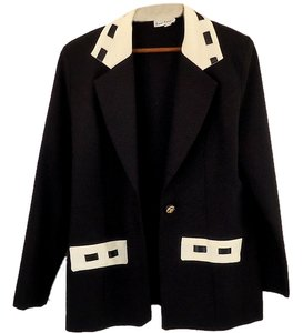 San Loren Embellished Lace Trim black/white Blazer