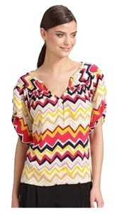 Diane von Furstenberg Dvf Silk Zig Zag Top Multi -Colored