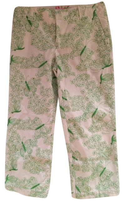 Item - Green and White Butterfly Capris Size 0 (XS, 25)