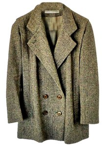Larry Levine Wool Embellished Tweed Textured Pea Coat
