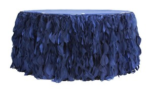 Curly Willow Table Skirts Navy Blue