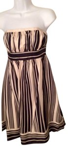 Anthropologie Strapless Striped Silk Cocktail Dress