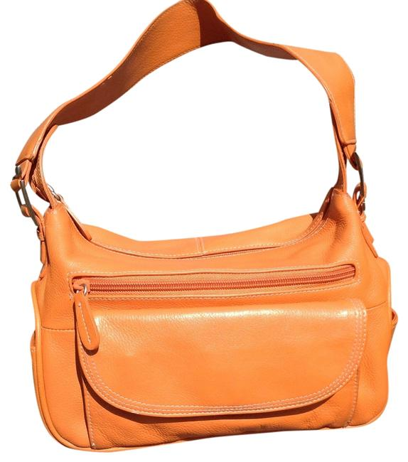 Item - Lots Of Pockets Purse Orange Leather Shoulder Bag
