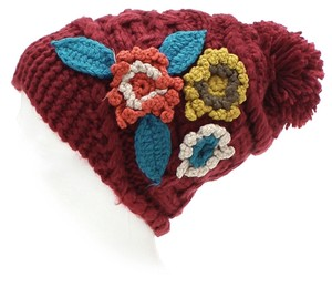 Burgundy Flower Pom Pom Accent Winter Hat Beanie