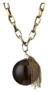 Tre Tre Black Glass Pendant with Fringe