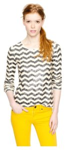 J.Crew Holiday Sequin Sparkle Zig Zag Chevron Sweater Shirt New Years Party Nuetral Casual T Shirt Cream and grey