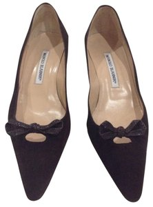 Manolo Blahnik Blanik Suede Brown Pumps