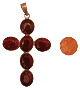 Large garnet cross pendant