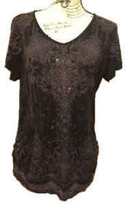 Vanilla Sugar Flowy Short Sleeve Comfortable Sparkle V-neck Top Black/Violet