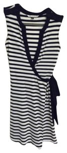 Diane von Furstenberg short dress Navy Blue/White stripe Wrap Nautical French Preppy on Tradesy