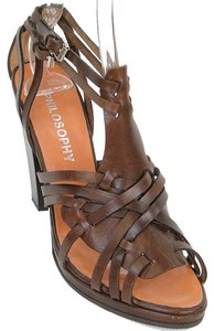 Philosophy di Alberta Ferretti Strappy Crisscross Strap Brown Sandals