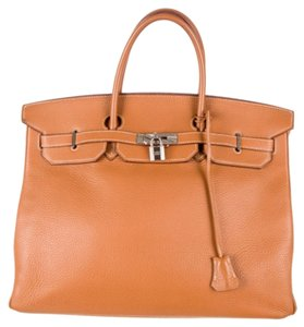 Hermès Hermes Leather Clemence Satchel in Tan, Gold