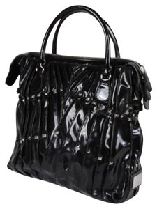 Valentino Maison Patent Leather Studded Pleated Handbag Purse Tote in Black