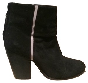 Rag & Bone Suede Leather Seamed Wooden Black Boots