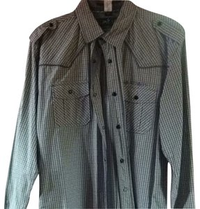 Buffalo David Bitton Button Down Shirt Grey/ White Multi
