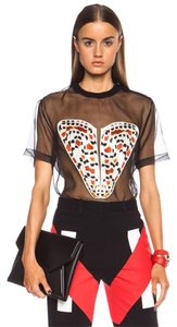 Givenchy Shear Semi-sheer Butterfly Print Graphic Top Black
