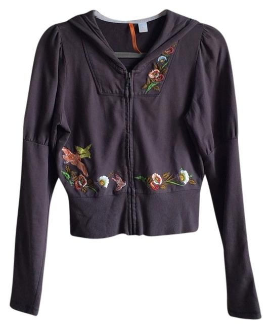 Item - Brown / Taupe Floral Bird Embroidered Saturday/Sunday Sweatshirt/Hoodie Size 4 (S)